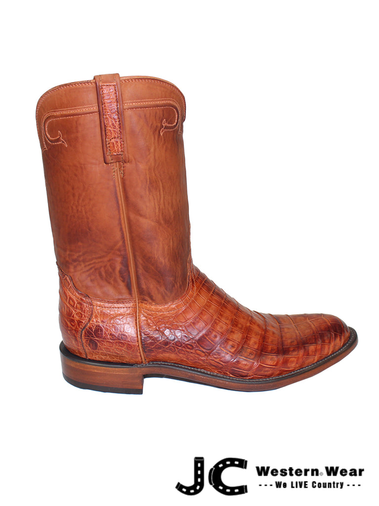 Mens Lucchese Heritage Cognac Caiman Belly Boots HL3001 RR
