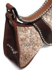 Double J Women's Roan Crystal Cowhide Purse DJ17C Side