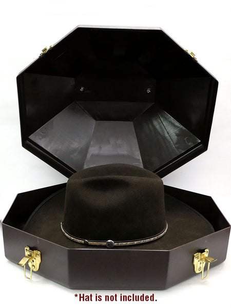 M&F 015002 Cowboy Hat Can Carrier Case Brown with a hat sample