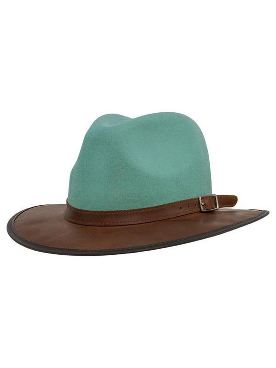 Head 'n Home The Summit Sage Felt Leather Fedora Hat Side
