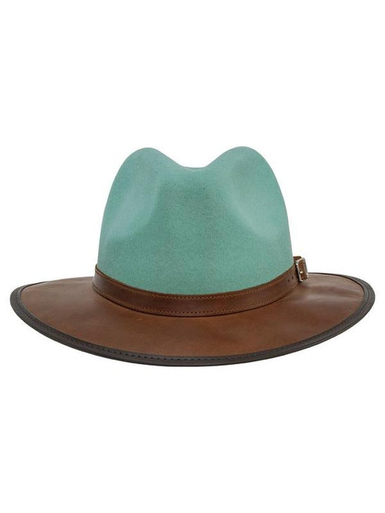 Head 'n Home The Summit Sage Felt Leather Fedora Hat Front