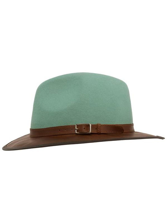 Head 'n Home The Summit Sage Felt Leather Fedora Hat Side View