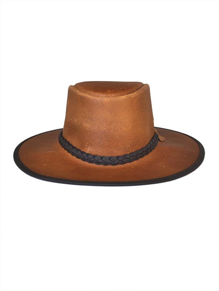 Head'n Home American Outback Brown Leather Hat OUTBACK Hat - BROWN