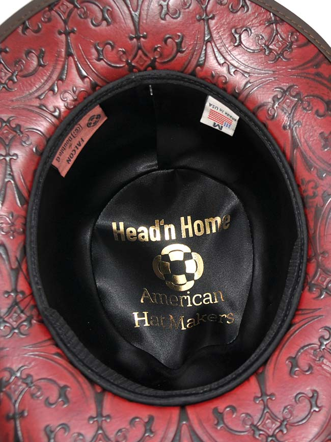 Head'n Home Double G Falcon Wine Leather Hat front