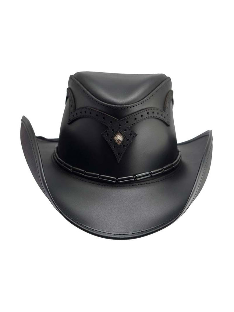Head'n Home Double G Wing Tip Black Leather Hat (D)
