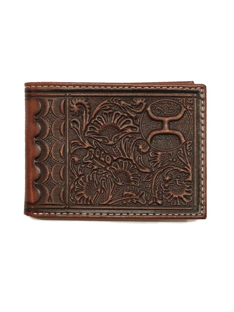 HOOey Mens Brown Scalloped Floral Tooling Bifold Wallet 1700161W1BR