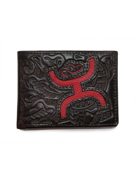 HOOey Mens Brown Tooling Pattern Red Cutout Bifold Wallet 1564161W1