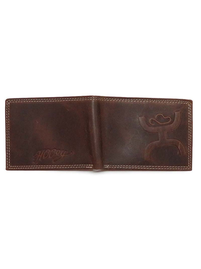 HOOey Mens Embossed Signature Bifold Brown Wallet 1623161W4