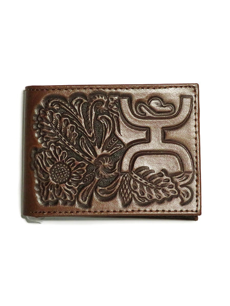 HOOey Mens Signature Chestnut Floral Tooled Bi-Fold Wallet 1700161W7