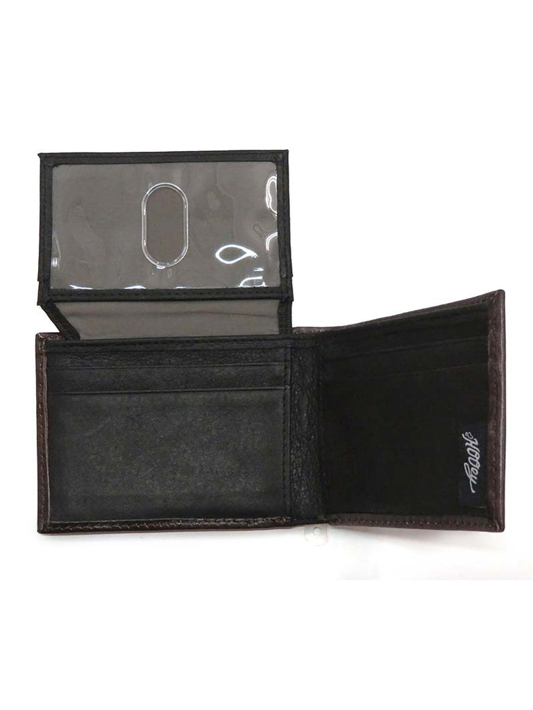 HOOey Mens Bi-Fold Roughy Dark Chocolate Tooled Wallet 1871161W4