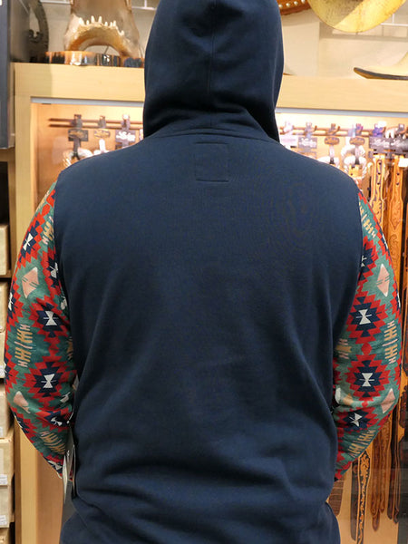 Hooey HH051NV Mens Poderosa Navy Pullover Hoodie A man wearing back view