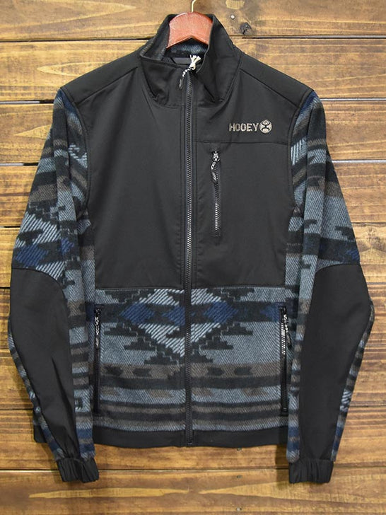 Hooey HJ051BK Mens Texture with Aztec Fleece Tech Jacket Black Front