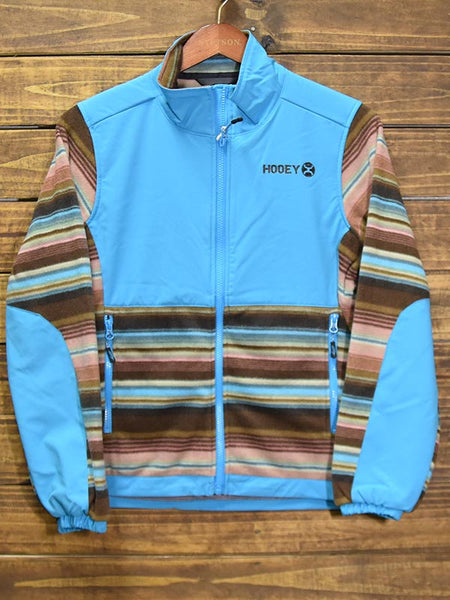 Hooey HJ052TQ Womens Serape Fleece Tech Jacket Turquoise Front