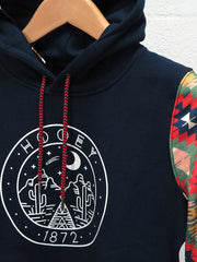 Hooey Mens Poderosa Navy Pullover Hoodie HH051NV close up