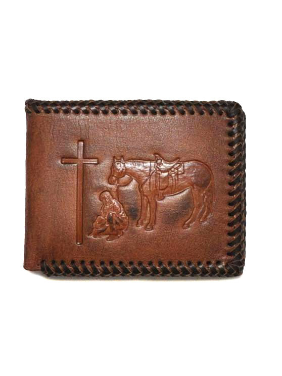 Nocona Mens Cowboy Prayer Leather Bi-Fold Wallet N5413908