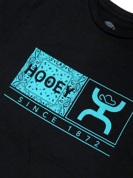 Hooey Mens Roots Black Crew Neck T-Shirt HT1364BK Close Up