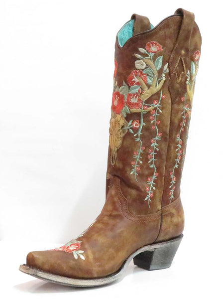 Corral Womens Tan Deer Skull Floral Embroidery Cowgirl Boot A3652