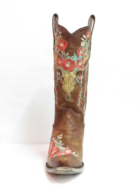 Womans Corral Tan Deer Skull Floral Embroidery A3652