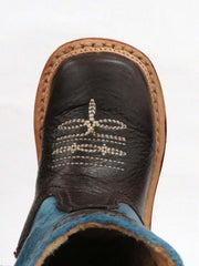 Roper Infants Blue and Brown Square toe Boot 7912-1369 toe