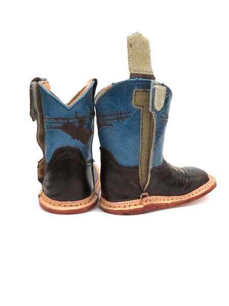 Roper Infants Blue and Brown Square toe Boot 7912-1369 back