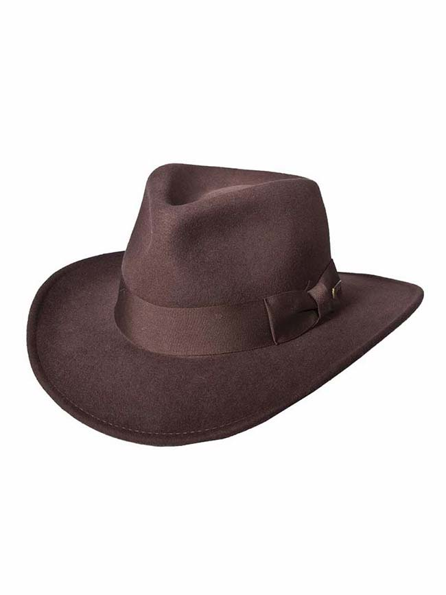 Indiana Jones Wool Felt Fedora IJ559 Brown Dorfman Pacific - J.C. Western® Wear