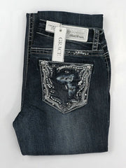 Grace in LA JB-51386 Womens Distressed Embellished Junior Bootcut Jeans folding