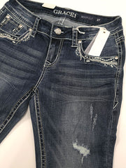 Front close up Grace in LA JB-51386 Womens Distressed Embellished Junior Bootcut Jeans