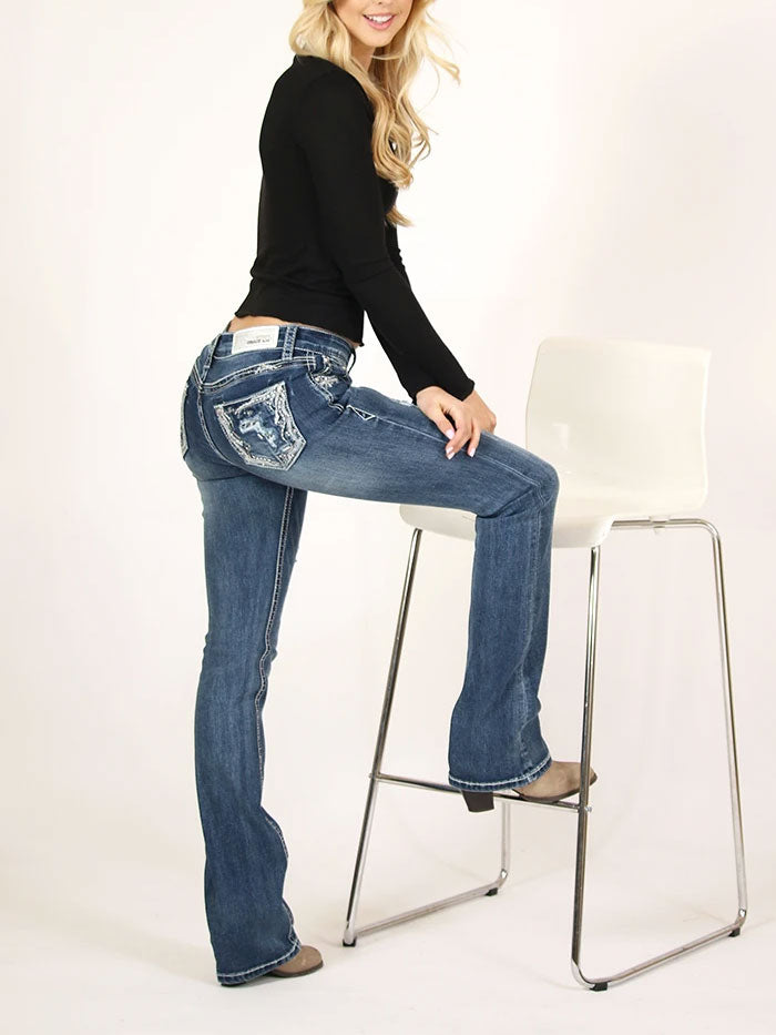 Grace in LA JB-51386 Womens Distressed Embellished Junior Bootcut Jeans with a girl