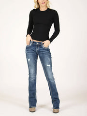 Grace in LA JB-51386 Womens Distressed Embellished Junior Bootcut Jeans Front view