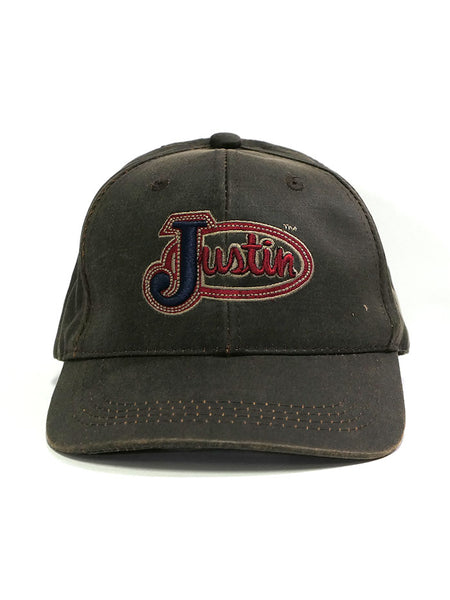 Justin JCBC004 Embroidered Logo Velco Cap Oiled Brown Front
