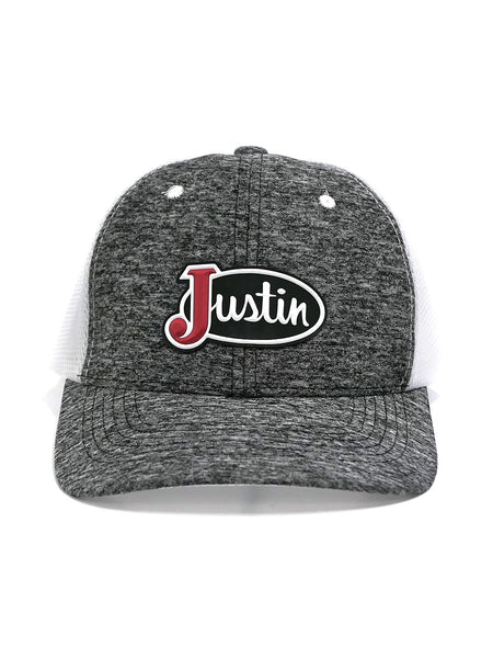 Justin JCBC013-GRY Classic Logo Mesh Back Cap Grey Heather FRONT VIEW