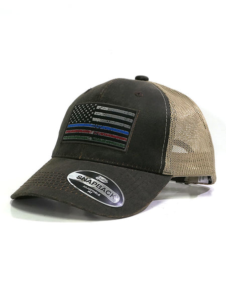 Justin JCBC515-BRN American Flag Mesh Back Cap Brown side front