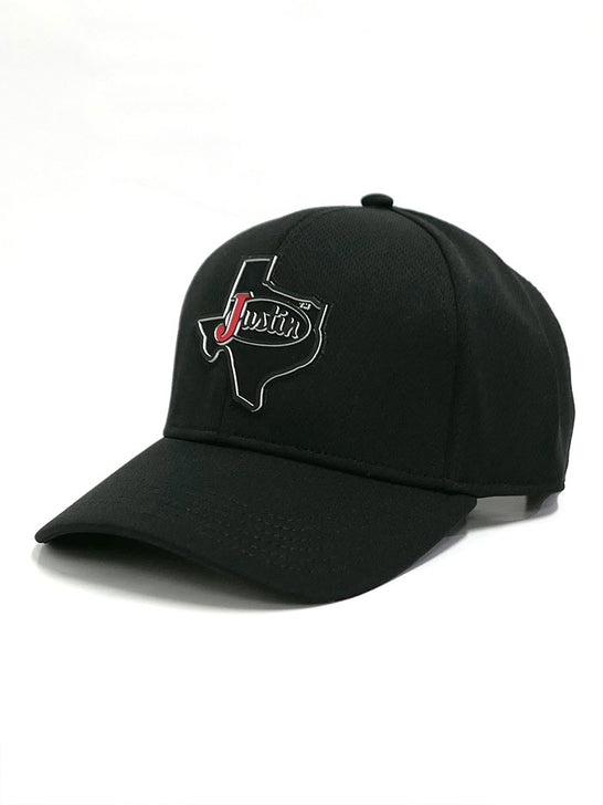 Justin JCBC718-BLK TEXAS BADGE Velcro Back Cap All Black Side Front