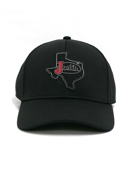 Justin JCBC718-BLK TEXAS BADGE Velcro Back Cap All Black Front View