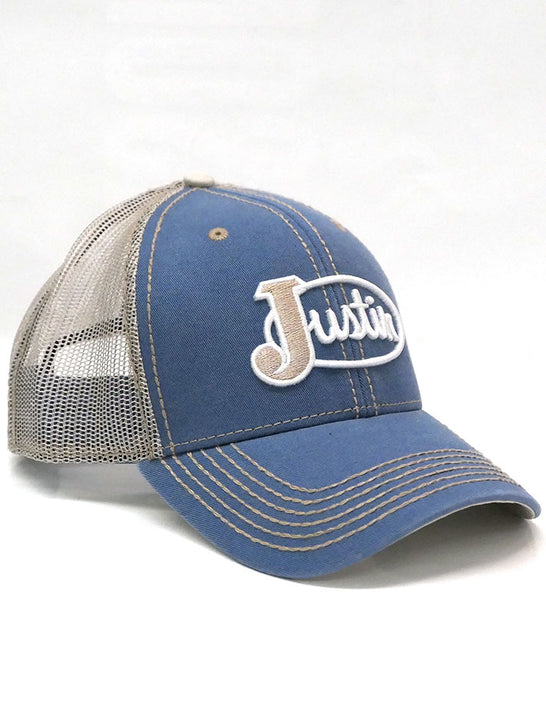 Justin JCBC724-LBLU Classic Logo Mesh Back Cap Light Blue 2-Tone Side View