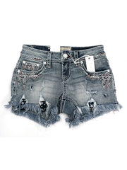 Grace in LA JHW-61321 Americana Heavy Embroidery Denim Shorts Front