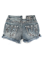 Grace in LA JHW-61321 Americana Heavy Embroidery Denim Shorts back
