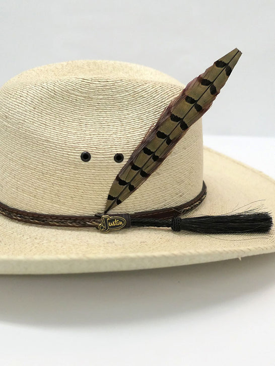 Justin JS1930BU Kids Buckhorn Western Straw Hat Natural Feather decor