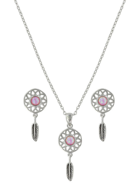 Montana Silversmiths JS3853 Dreaming in Pink Opal Jewelry Set Front