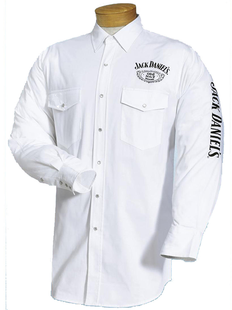 Ely Cattleman Jack Daniel's Long Sleeve White Western Shirt 15225006JD-01