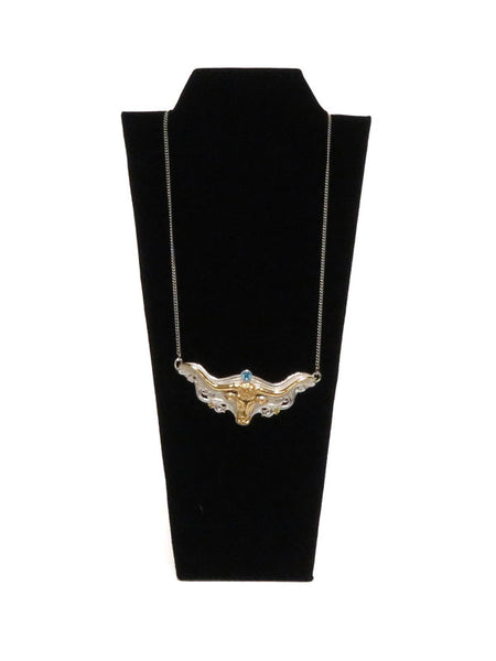 Women's Longhorn Head Western Necklace JCN201 on display