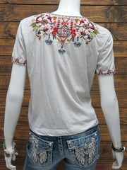 Johnny Was Womens BEATRIZ Knot Tie Embroidery T-Shirt J11019-4 SAN Back View