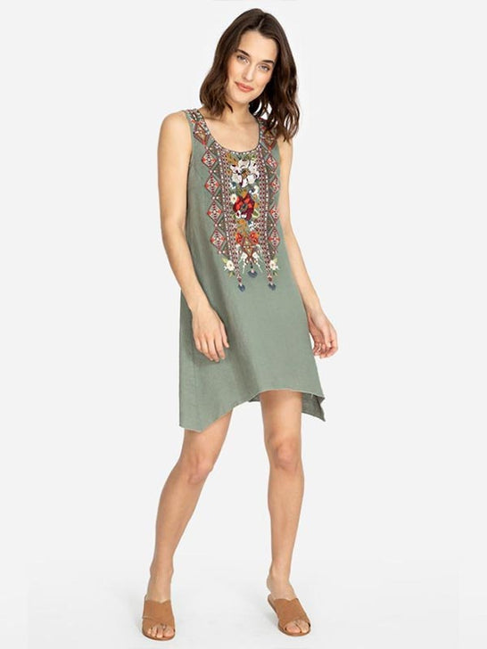 Johnny Was Womens BEATRIZ Trapeze Tunic Embroidery Dress J23519-4 TORTOISE Model Standing