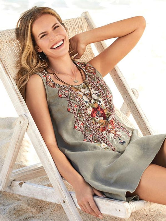 Johnny Was Womens BEATRIZ Trapeze Tunic Embroidery Dress J23519-4 TORTOISE front view