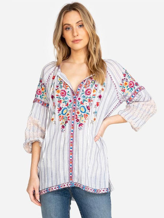 Johnny Was Womens Allegra Peasant Blouse W13519-3 Front