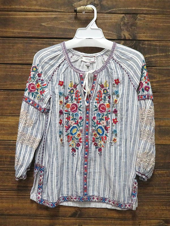 Johnny Was Womens Allegra Peasant Blouse W13519-3 Hanging Shirt