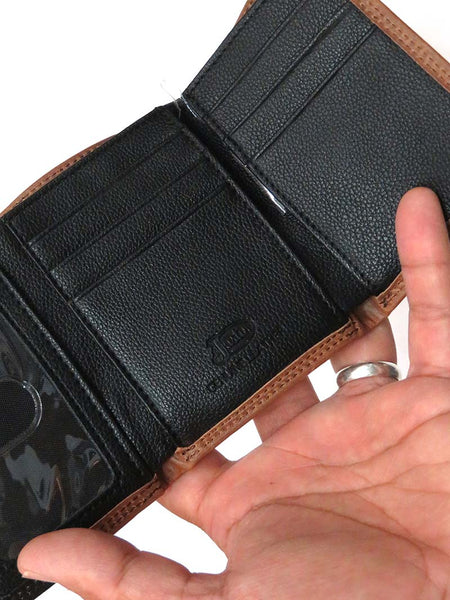 Men's Justin Tri-Fold 2 Tone Black Brown Leather Wallet 1920568W4