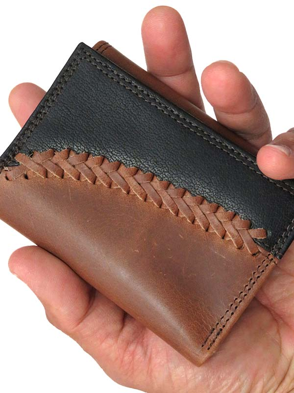 Justin Tri-Fold 2 Tone Black Brown Leather Wallet 1920568W4
