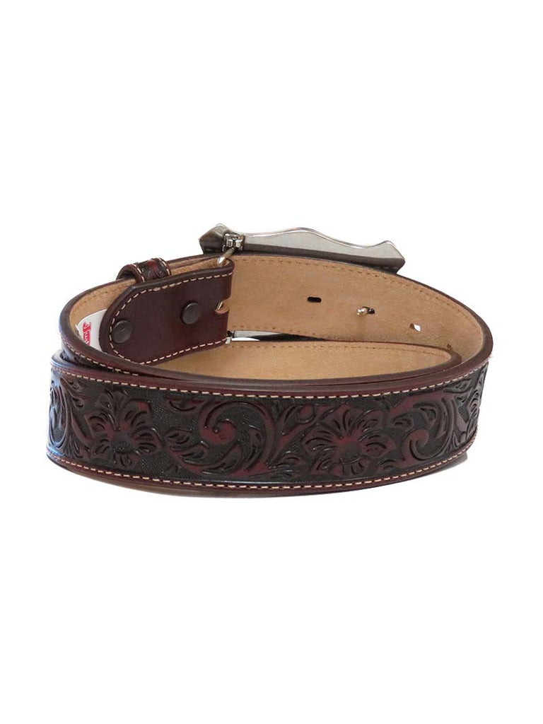 Justin Mens Longhorn Buckle Floral Embossed Leather Belt C11194 at JC Western Wear Front View