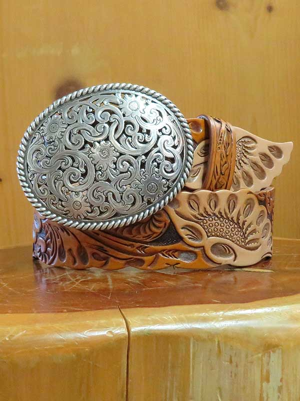 Justin Womens Tan Botanical West USA Leather Belt C21284